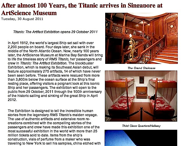 Titanic Exhibition Coming to Singapore (Breaking News) « wishURhere