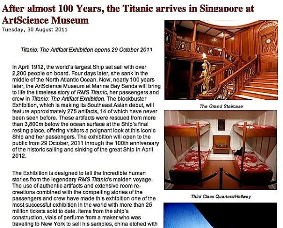 Titanic Exhibition at the Singapore ArtScience Museum (Breaking News ...